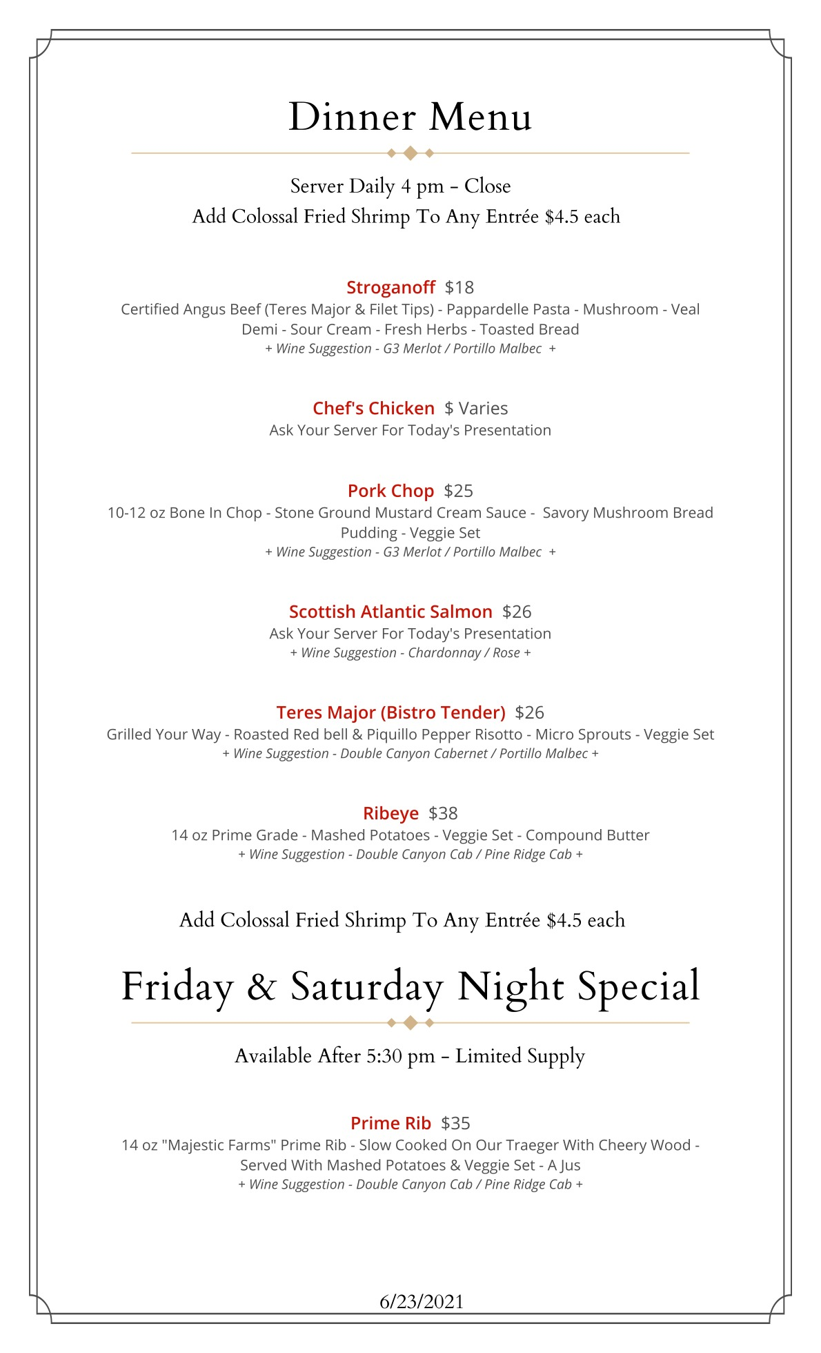 Entrees and Specials