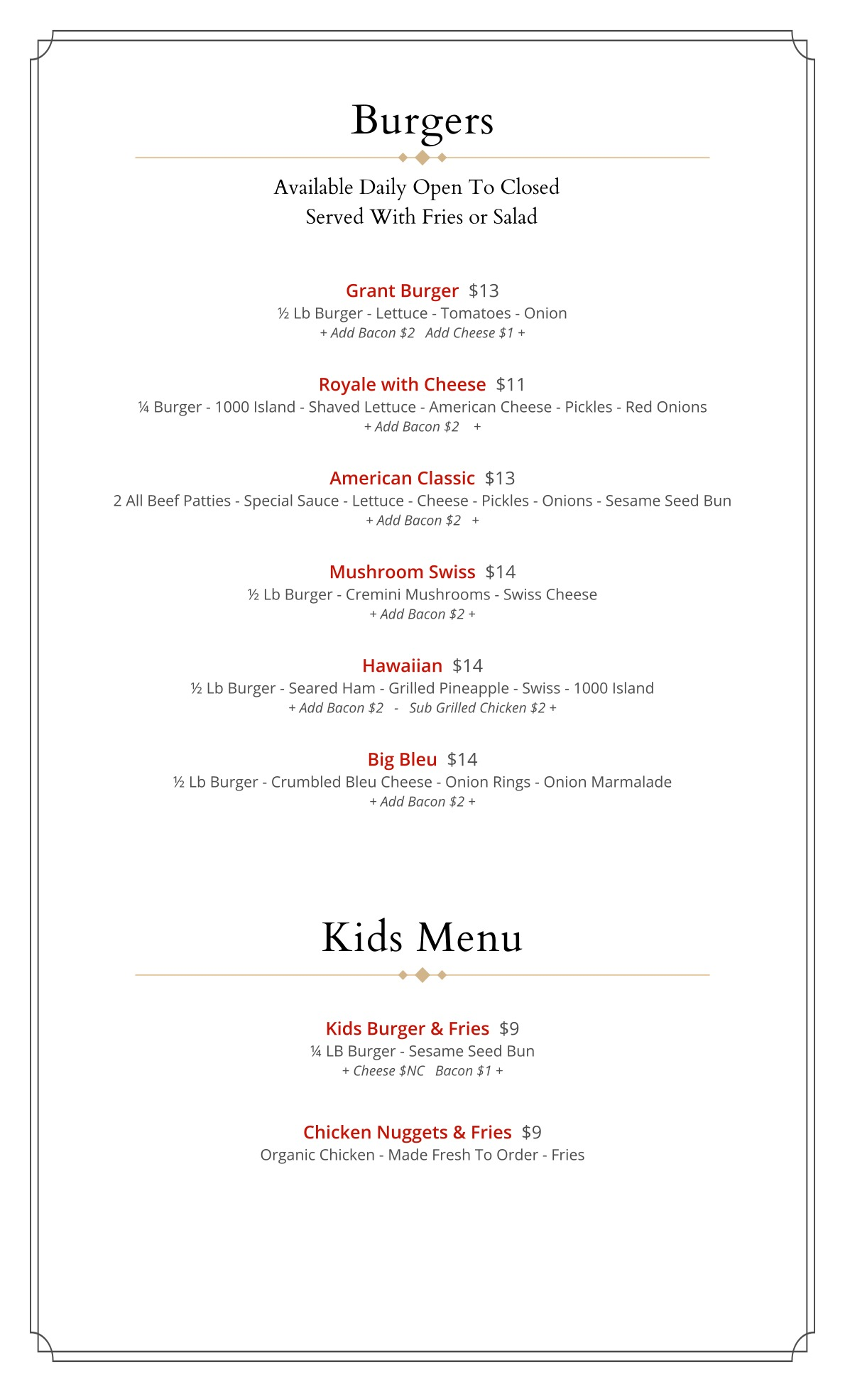 Burgers & Kids